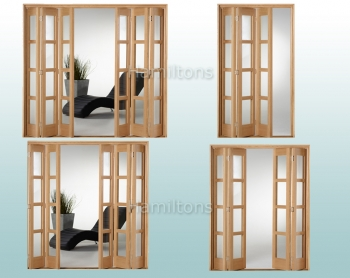 Slimfold Oak Shaker Clear Glass 3, 4, 5 and 6 Folding Door System