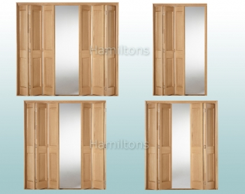 Slimfold Oak Victorian 2 Panel. 3, 4, 5 and 6 Folding Doors