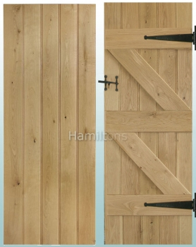 Woodland Solid Oak Rustic Grade Butt and Bead Ledge and Brace Doors