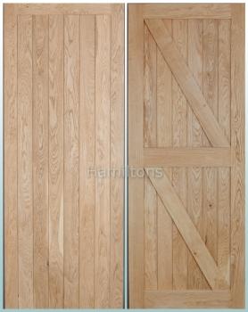 Solid Oak Framed V Groove Ledge Doors and Ledge and Brace Doors