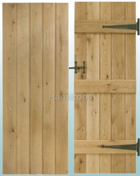 Woodland Solid Oak Rustic Grade Butt and Bead Ledge Doors