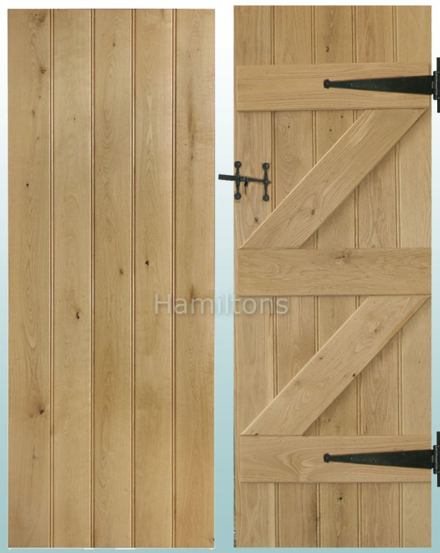 Door only & Woodland Solid Oak Rustic Grade Butt and Bead Ledge and Brace Doors ...