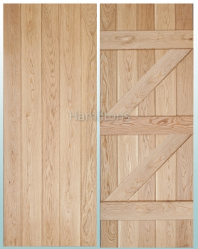 Woodland Solid Oak Prime Grade Butt and Bead Ledge and Brace Doors