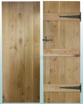 Woodland Solid Oak Rustic Grade V Groove Ledge Doors