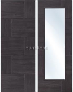 XL Joinery Mode Umber Grey Ravenna Panelled And Glazed  Laminate Doors