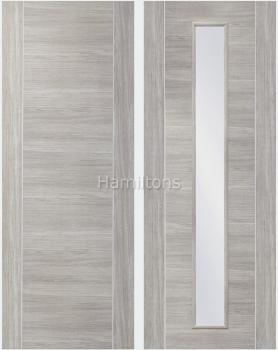 XL Joinery Mode White Grey Forli Panelled And Glazed Laminate Doors