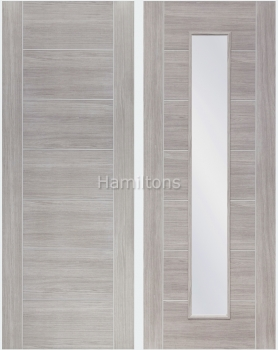 XL Joinery Mode White Grey Palermo Panelled And Glazed Laminate Doors