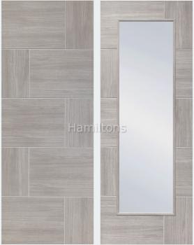 XL Joinery Mode White Grey Ravenna Panelled And Glazed Laminate Doors