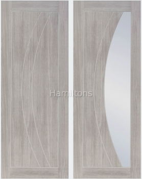XL Joinery Mode White Grey Salerno Panelled And Glazed Laminate Doors