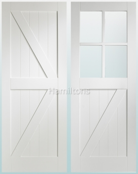 XL Joinery White Cottage Panelled And Clear Glass Doors