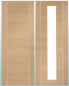 XL Oak Forli Solid Panel Doors. Clear Glass Doors and Fire Doors