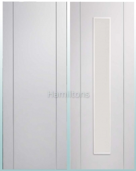 XL Joinery White Forli Solid Panel And Clear Glass Doors