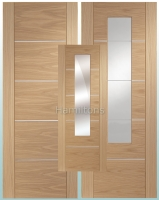 XL Oak Portici Panel Doors Clear Etched  and mirror Glass Doors
