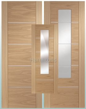 XL Oak Portici Solid Panel Doors Clear/Etched  and mirror Glass Doors