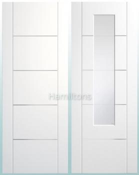 XL White Portici Solid Panel And Clear/Etched Doors