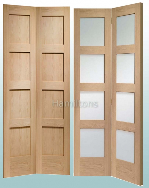 Bi Fold Door  sc 1 st  Hamiltons doorsandfloors & XL Joinery Oak Shaker Bi-fold Doors. Solid Panel And Clear Glass ...