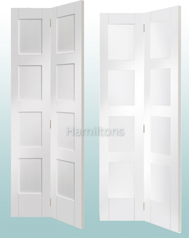 low priced 656c4 dfa8b XL Joinery White Shaker 4 Panel And Clear Glass Bi-fold Doors