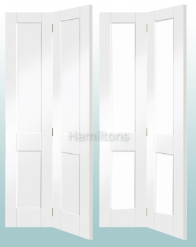 XL Joinery White Victorian Shaker Panel And Glazed Bi-fold Doors