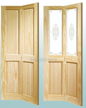 XL Joinery Clear Pine Victorian Panel And Campion Glass Bi-fold Doors