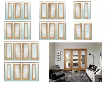 XL Joinery Easi Frame Oak Pattern 10 Room Divider Clear Glass