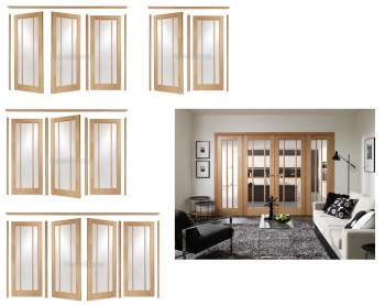 XL Joinery Easi Frame Oak Worcester Room Divider Clear Glass