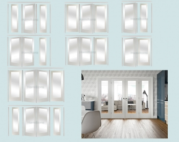 XL Joinery Easi Frame White Pattern 10 Room Divider Clear Glass