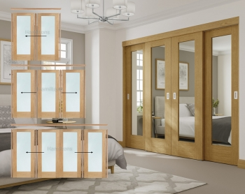 XL Joinery Oak Pattern 10 Mirror Glass Sliding Door System