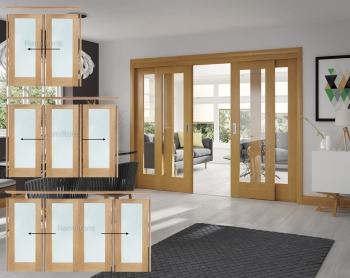 XL Joinery Oak Pattern 10 Sliding Doors With Clear Glass