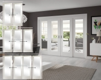 XL Joinery White Pattern 10 Sliding Doors With Clear Or Obscure Glass