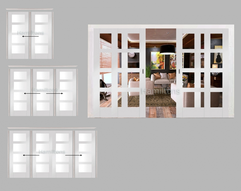 XL Joinery White Shaker 4 Light Sliding Door System With Clear Glass