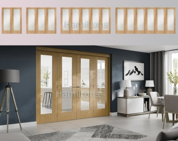 XL Joinery Freefold Oak Pattern 10 Folding Doors Obscure Glass