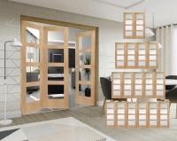 XL Joinery Freefold Oak Shaker 4 Light Folding Doors Clear Glass