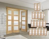 XL Joinery Oak Freefold Shaker 4 Light Folding Doors Obscure Glass