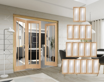XL Joinery Freefold Oak Worcester Folding Doors Clear Glass