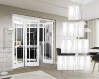 XL Joinery Freefold White Worcester Folding Doors Clear Glass