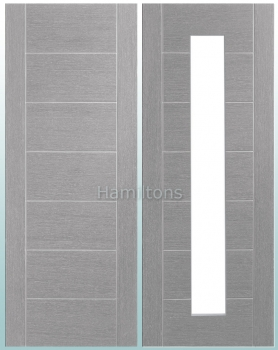 XL Joinery Palermo Light Grey Panelled And Glazed Doors