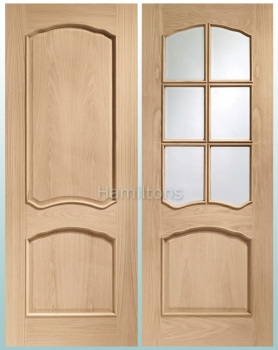 XL Joinery Oak Louis And Riviera. Raised Beading. Panel Or Bevel Glass