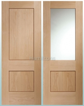 XL Joinery Piacenza Oak Panelled, Clear Glass and Fire Doors