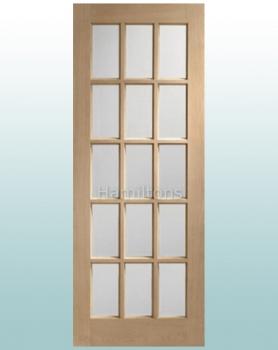 XL Joinery Oak SA77 15 Pane Clear Bevelled Glass Doors