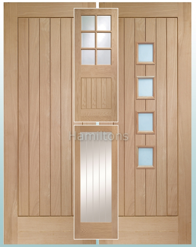 Standard Door  sc 1 st  Hamiltons doorsandfloors & XL Joinery Oak Suffolk Panelled Bevel Obscure and Etched Glass ...