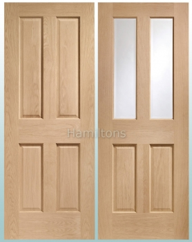 XL Joinery Oak Victorian 4 Panel And Malton Glazed Doors