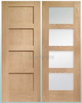 XL Joinery Oak Shaker 4 Panel And Shaker 4 Light Doors