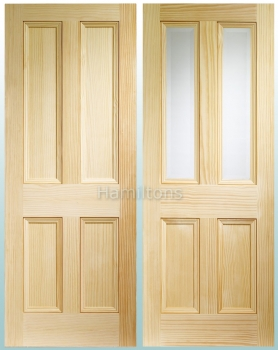 XL Joinery Vertical Grain Pine Edwardian 4 Panel And Bevel Glass Doors