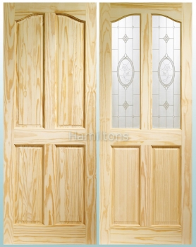 XL Joinery Clear Pine Rio Solid Panel And Crystal Rose Glass Doors