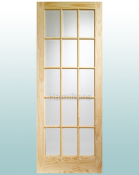 XL Joinery Clear Pine SA77 15 Pane Clear Glass Doors