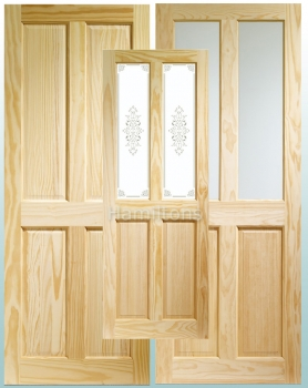 XL Joinery Clear Pine Victorian 4 Panel, Clear Or Campion Glass Doors