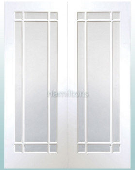 XL Joinery White Cheshire Rebated Door Pair with Clear Glass