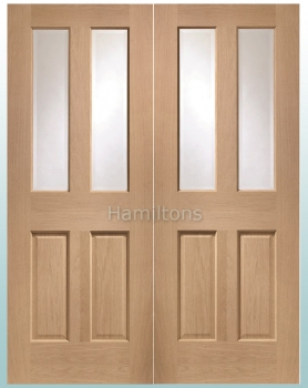 XL Joinery Oak Malton Rebated Door Pair With Clear Bevelled Glass