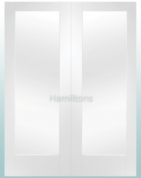 XL Joinery White Pattern 10 Rebated Door Pairs With Clear Glass