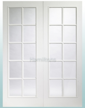 XL Joinery White Portobello Rebated Door Pair With Clear Glass
